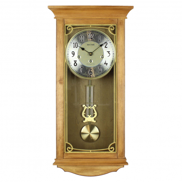 Rhythm Deluxe Light Wood Pendulum Wall Clock - Westminster Chime