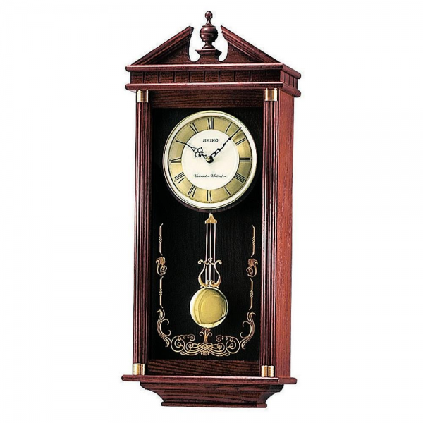 Seiko QXH107B Dark Oak Wooden Pendulum Wall Clock| Seiko Clocks