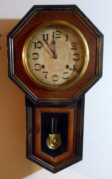 antique regulator school house wall clock, octagonal, Japanese