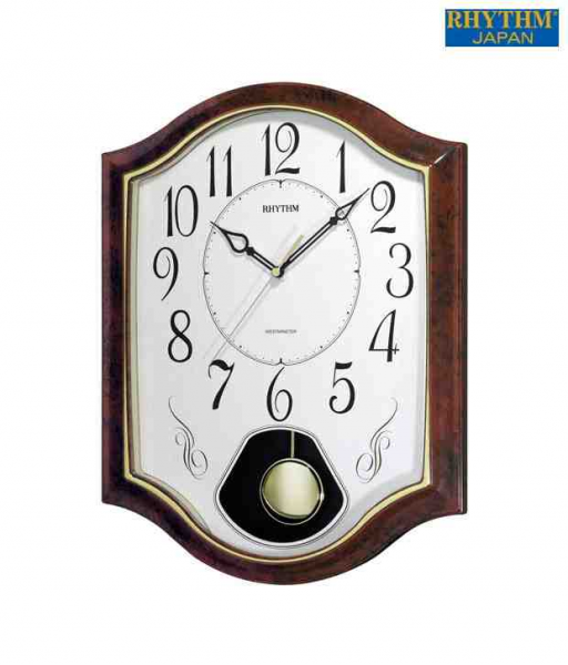 Buy Rhythm White & Brown Pendulum Wall Clock @ Best Prices | Snapdeal