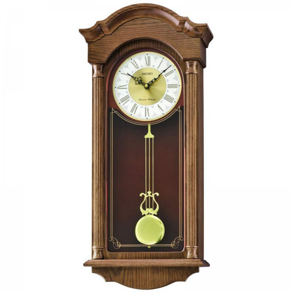 Seiko Brown Wooden Wall Clock with Pendulum QXH061BLH