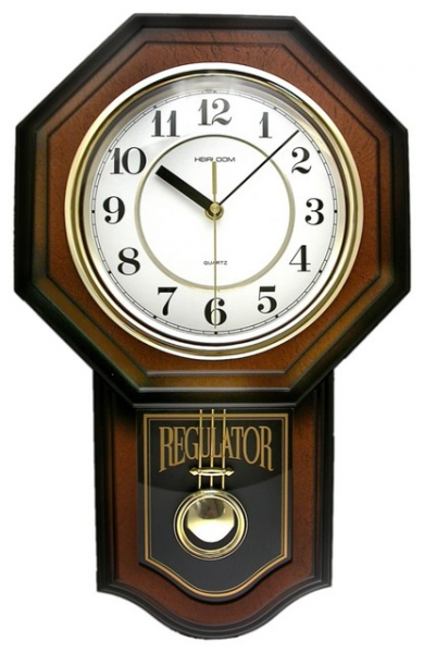 ... Brown Pendulum 18 3/4 High Wall Clock - Traditional - Clocks - by