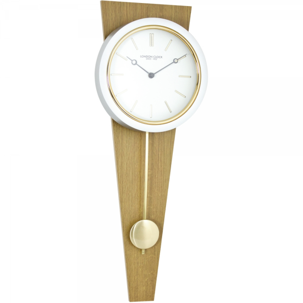 Gold/Oak Wood Pendulum Wall Clock 59cm