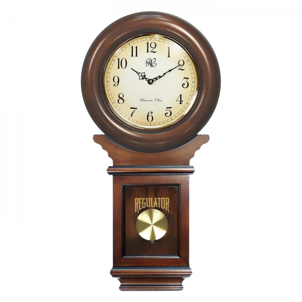 City Clocks 3416 Chiming American Regulator Wall Clock with Pendulum ...