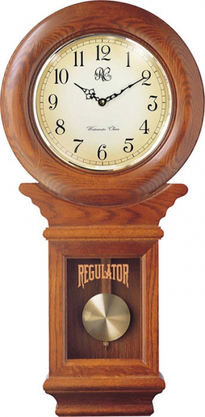 Clocks - Chiming American Regulator Wall Clock with Swinging Pendulum ...