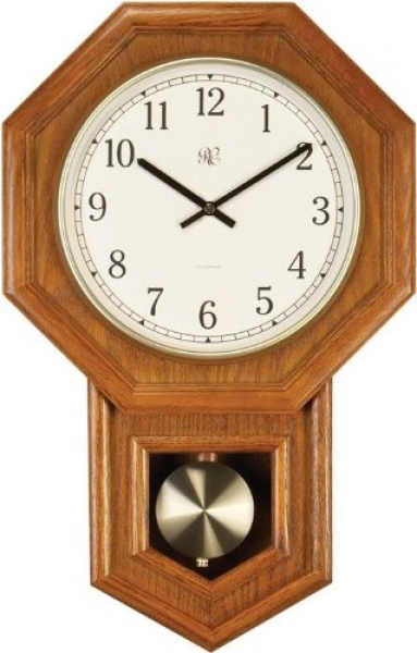 City Clocks Radio-controlled Schoolhouse Clock with Swinging Pendulum ...