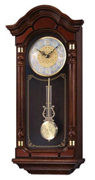 Seiko Wall Pendulum Clock Dark Brown Solid Oak Case with Hand-Rubbed ...