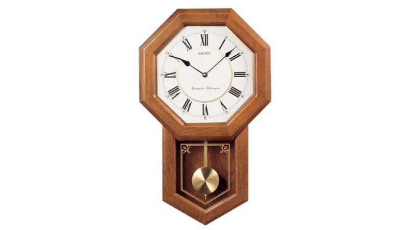 Seiko Wall Pendulum Schoolhouse Chime Clock Dk Brown Solid Oak Case ...