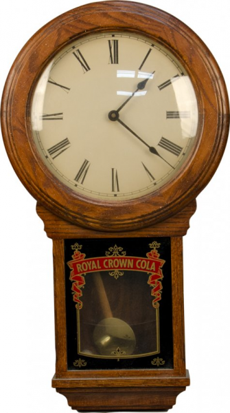 1044: Royal Crown Cola Wall Mount Wood Pendulum Clock