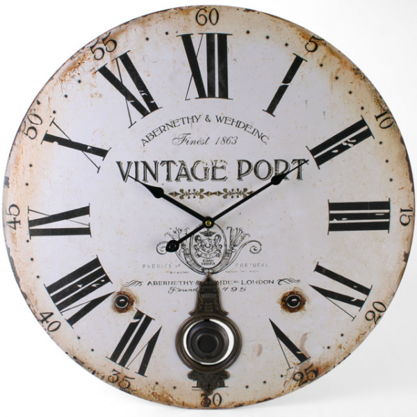 Large Traditional Vintage Port Round Pendulum Wall Clock