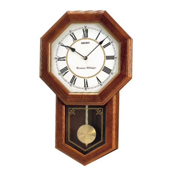 Chiming Wooden Wall Clock by Seiko. Timber case. White Roman Dial.