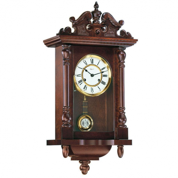 Hermle Piccadily Mechanical Regulator Wall Clock - Walnut - 1 2 Hour ...