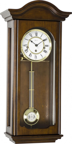 Hermle Brooke Mechanical Regulator Wall Clock - Antique Walnut Finish