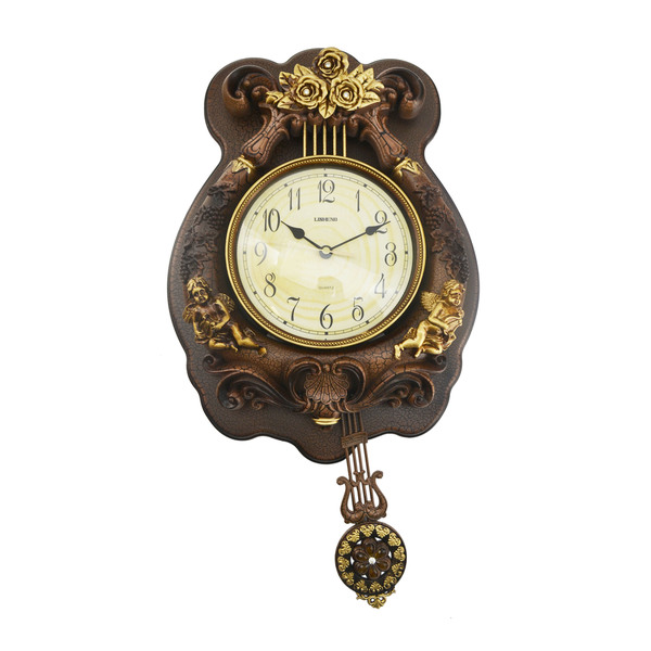 Antique Designed Angel Wall Clock with Swinging Pendulum - Overstock ...