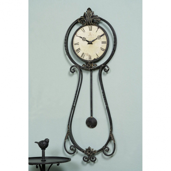Metal Pendulum Wall Clock- Vintage/ French Provincial/ Retro Style