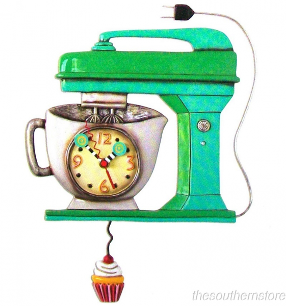 mixer green wall clock allen designs kitchen whimsical wall clock