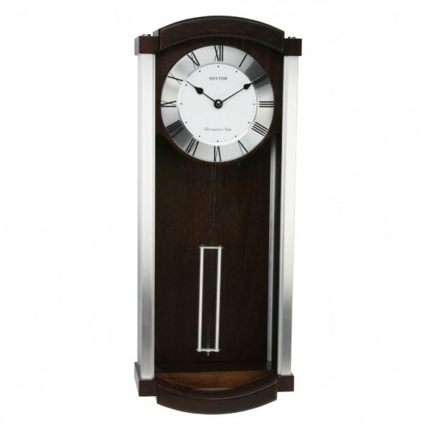 Rhythm Large Deluxe Wooden Pendulum Wall Clock with Metal Rim ...