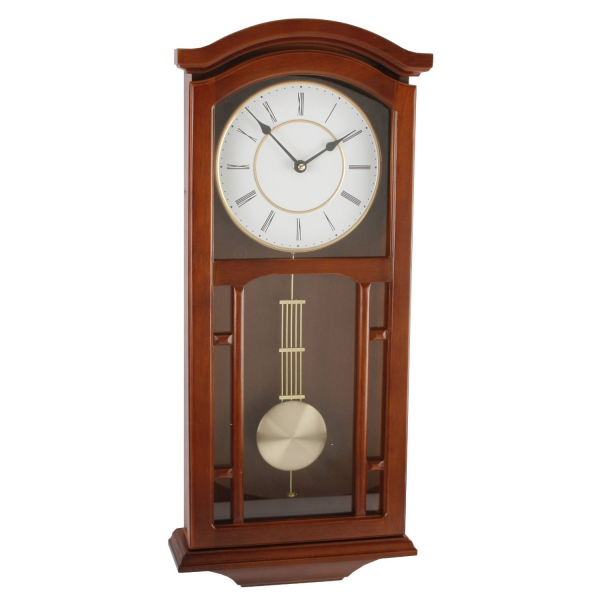Large Deluxe Walnut Regulator Pendulum Wall Clock - Gold Dial