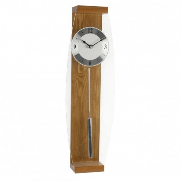 Large Oak Pendulum Wall Clock - Glass Front