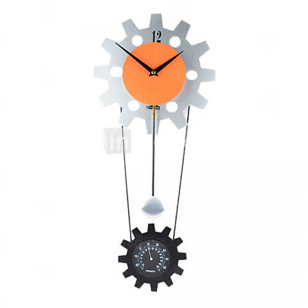Gear Wheel Design Wall Clock with Thermometer & Pendulum - USD $ 54.99