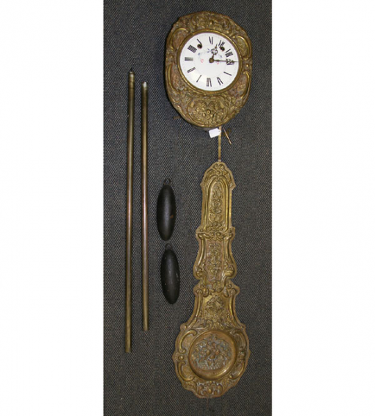French Wag on the Wall Clock Repousse Brass | Antique Helper