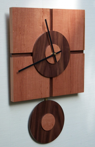 Modern Square Wall Clock with Pendulum by djwubs on Etsy
