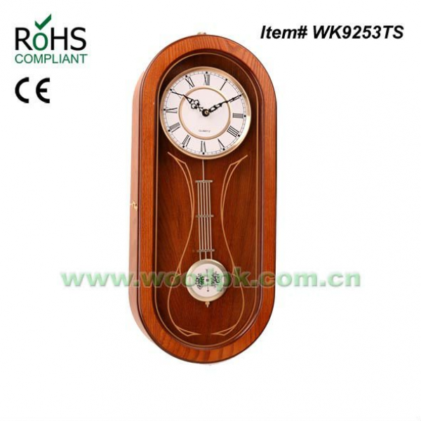 24x57cm Oval Shape Quartz Pine Timber Pendulum Clock Funny Wall Clock ...