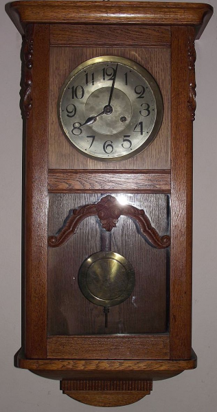German 8 Day Solid Oak Wall Regulator Clock with Original Glass & Hand ...