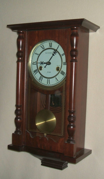 Kassel 31 Day Cherry Wall Clock with Key and Pendulum, Works Well!