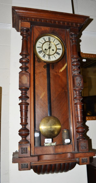 ... weight-driven Vienna-type wall clock with two weights and pendulum