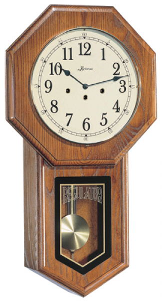 Schoolhouse Regulator Wall Clock with German Mechanical Movement - Oak