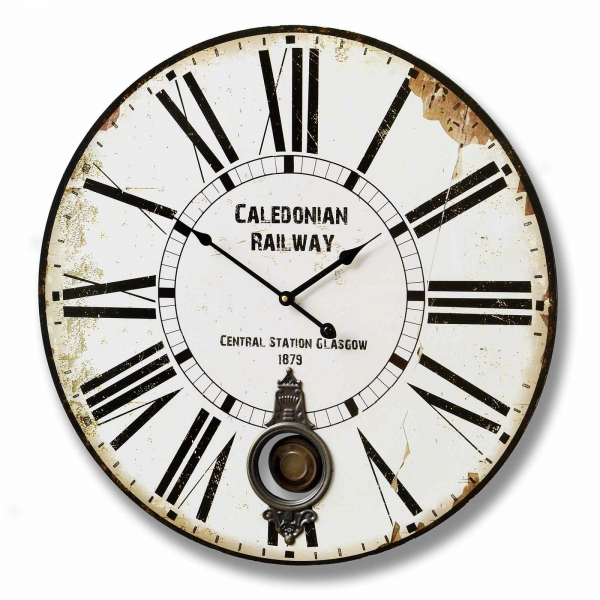 ... Railway Wooden Wall Clock Distressed Recessed Pendulum 58 cm