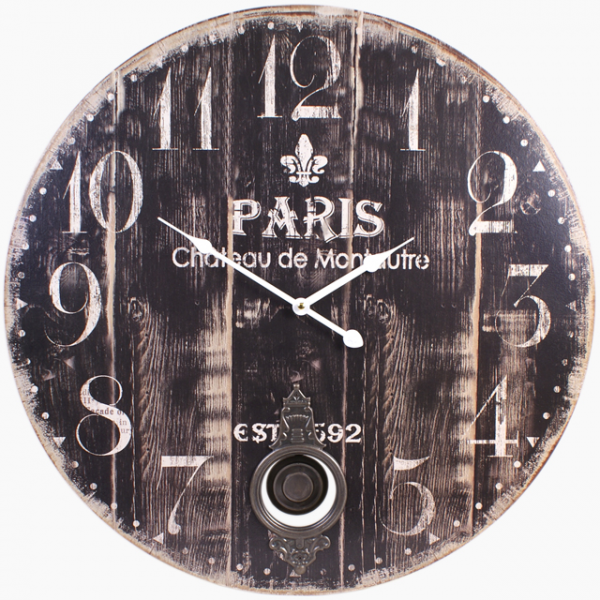 Large Pendulum Paris Wooden Wall Clock Shabby Chic Distressed 58 cm ...