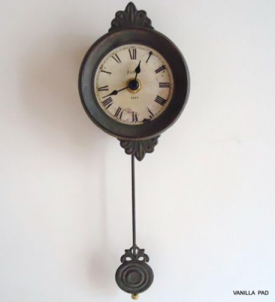 Small Pendulum Wall Clock Vintage Antique Style French Grey Shabby Ch ...