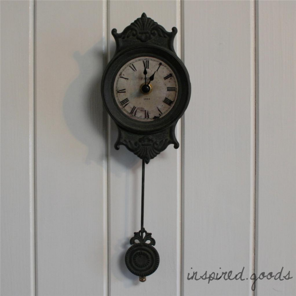 about French Grey Small Pendulum Paris Wall Clock Shabby Chic Vintage ...
