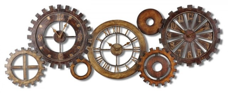 Exposed Gears Multiple Wall Clock Collage contemporary-wall-clocks