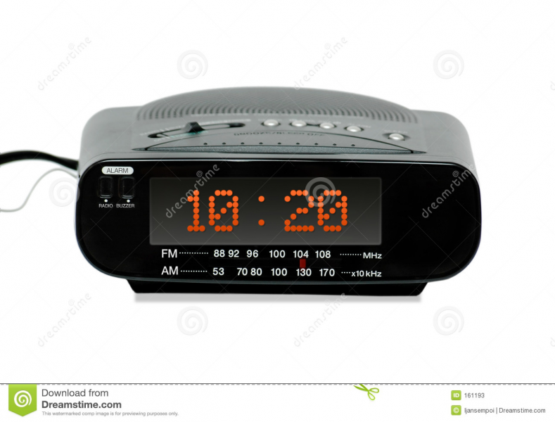 Digital radio alarm clock (front view) isolated white background.