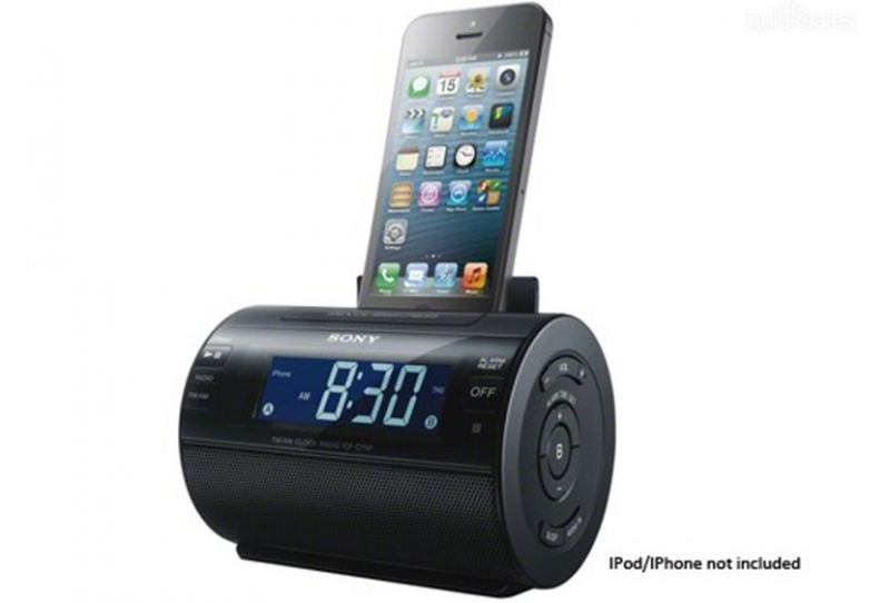 SONY iPHONE 5 DUAL ALARM CLOCK RADIO WITH AM/FM RADIO ICFC11IP Brand ...