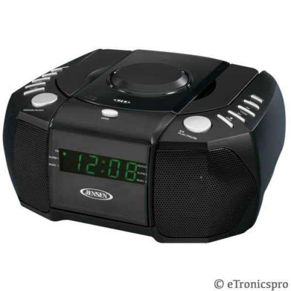 Alarm Clock Radio with Top Loading CD Player Digital Tuner and Aux