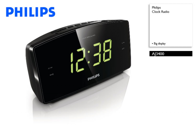 Philips AJ3400 Big display Radio Alarm Clock - Doneo Malta