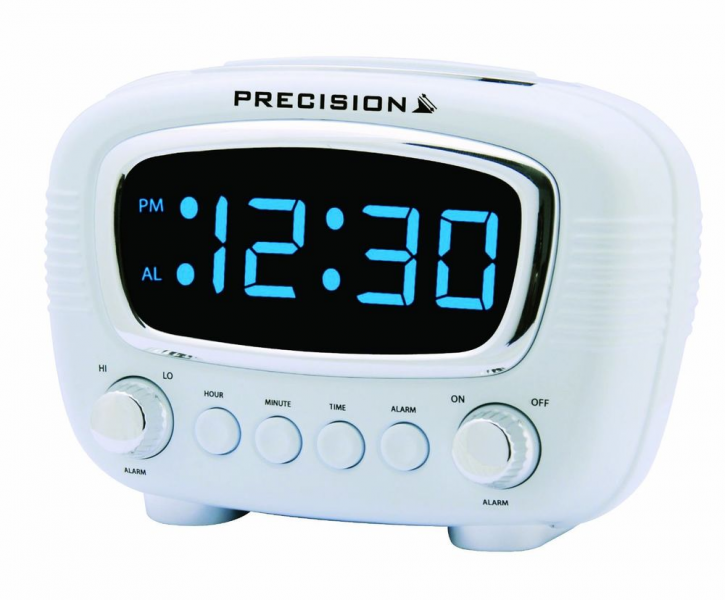 Precision Radio Controlled Retro Alarm Clock With LED Blue Display ...
