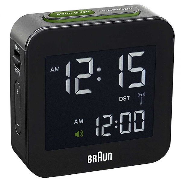 Braun Black Radio Controlled Digital Alarm Clock | Grattan