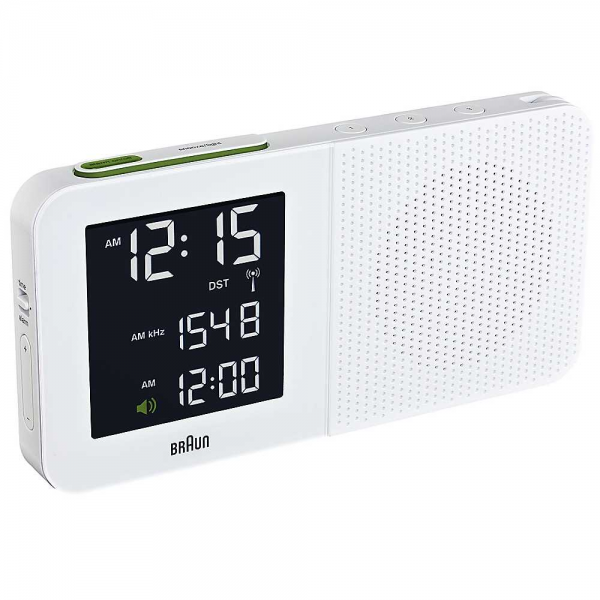 Braun Radio Controlled Digital White Alarm Clock | Freemans