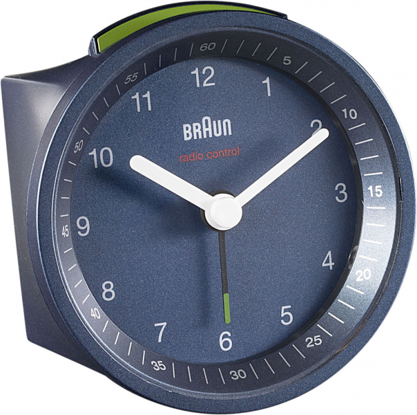 Braun Quartz Radio Controlled Round Alarm Clock Blue non UK GMT+1 ...