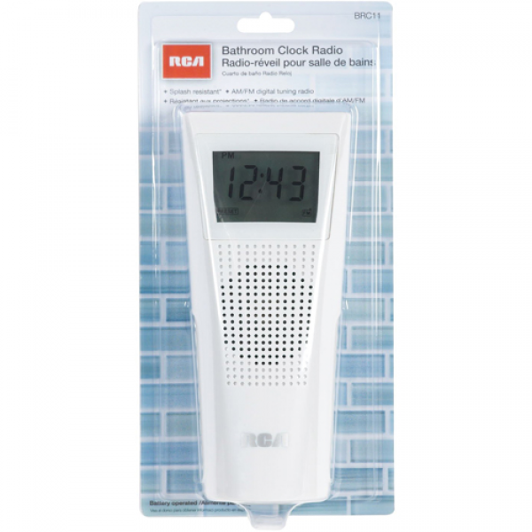 Splash Resistant Bathroom Clock Radio, Splash-Resistant, AM/FM Radio ...