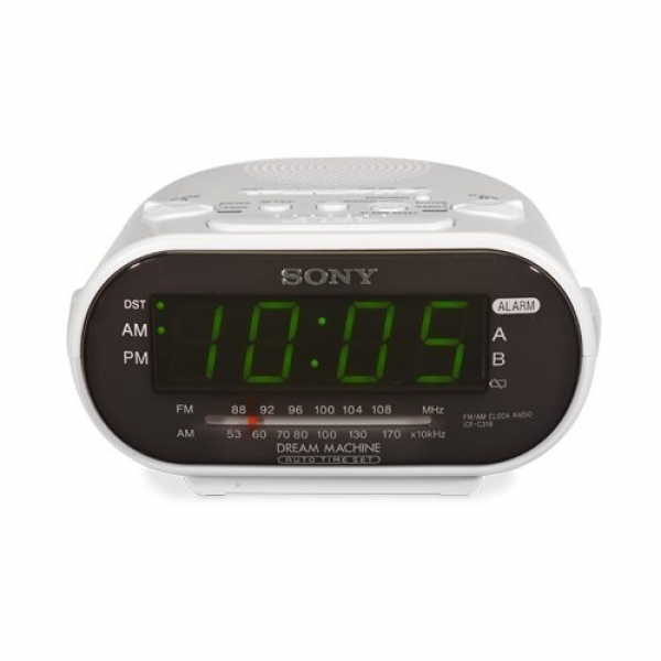 Sony Icf-c318 Automatic Time Set Clock Radio With Dual Alarm White ...