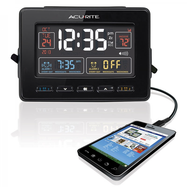 AcuRite Atomic Dual Alarm Clock with USB Charger 13024
