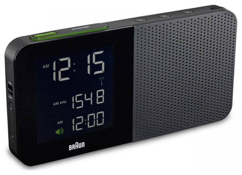 Braun - Digital Alarm Clock Radio in Black modern-clocks