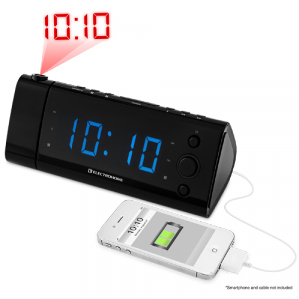 Alarm Clock Radio with Time Projection, Battery Backup, Auto Time Set ...