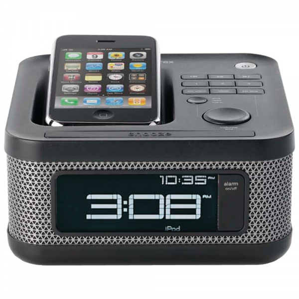 Memorex MI4604P Mini Alarm Clock Radio for iPod and iPhone (Black)